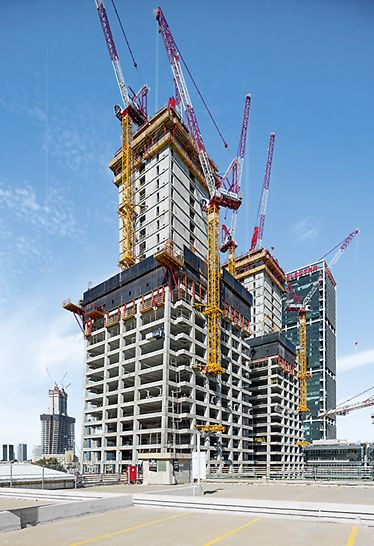"The 164 m high twin towers (Alon Towers ""BSR Center TLV"", Tel Aviv, Israel), PERI Climbing Formwork and Protection Panels"