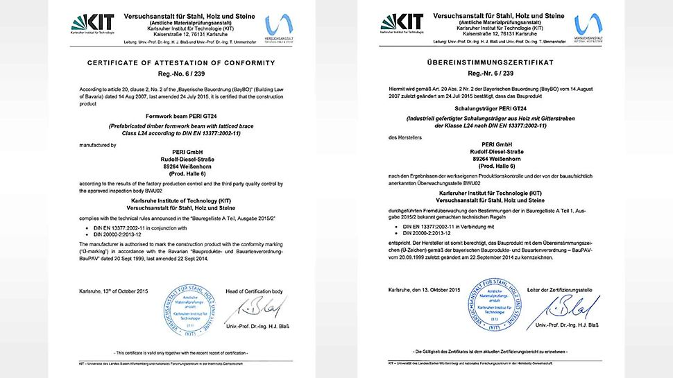 The Certificate of Conformity confirms that the GT 24 Formwork Girder corresponds to the technical rules of DIN EN 13377.