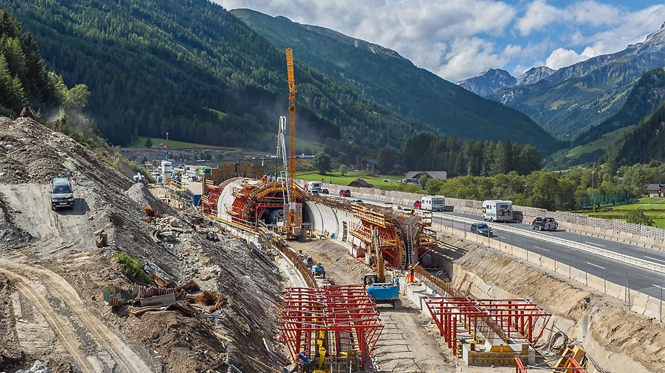 A tunnel formwork system solution based on VARIOKIT makes the Tauern motorway disappear in an enclosure structure within a short construction time for a length of 1,545 meters.