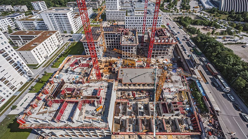 "Aerial view of the jobsite "" Stadtquartier am Hirschgarten"" MK 4 ""Friends"", Munich"