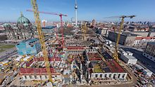 For the reconstruction of the Humboldt Forum in Berlin, Germany, the contractor used PERI MAXIMO. The wall formwork system allowed safe and cost-effective construction of the vertical reinforced concrete components.