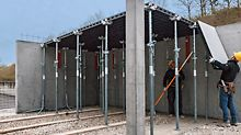 Versatility is the special advantage of the system. The panels can be utilised for forming walls, columns and slabs.