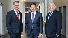The PERI Group Management announced a 13 % increase in turnover at the start of 2016 compared to the previous year: 7,700 employees worldwide generated a turnover totalling EUR 1.3 billion.  Pictured from left: Dr Fabian Kracht (Managing Director Finance and Organisation), Alexander Schwörer (Managing Director Sales and Marketing) and Leonhard Braig (Managing Director Product and Technology).