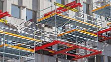 Unusual Scaffolding solution: Cantilevered instead of positioning. New engineered working scaffold solution.