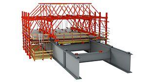 Wózek do obiektów zespolonych składa się z dzierżawnych elementów standardowych i może być optymalnie dopasowywany do geometrii i wymagań statycznych budowli, dzięki czemu stanowi bardzo opłacalne rozwiązanie.