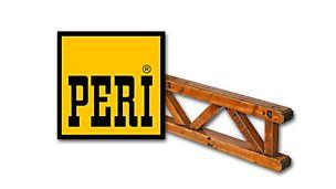 Tak wyglądało logo PERI w 1969 r. Na zdjęciu znajduje się również dźwigar T70, jeden z pierwszych docenionych przez użytkowników produktów PERI.