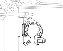 Spojka kotvení Easy se jednoduše nasadí do svislého otvoru v rámu Easy nebo v konzole a otočením o 90° se zajistí.