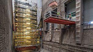 PERI Gerüstkonstruktion für die Betonsanierung im Bunkerbereich des Müllheizkraftwerks Ruhleben.
