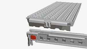 With the integrated lock against lift off, the UDS Deck is immediately secured after being placed in position and moved sideways; the securing hook engages the ledger by sliding forward the decking.
