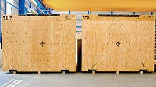 Az értékes áruk ipari csomagolásaként használt rétegelt lemezeket nagy szilárdság és kis súly jellemzi.