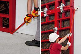 Wandschalungselemente können beim Einschalen an der Hebelecke exakt ausgerichtet werden. Die Schalung lässt sich beim Ausschalen leichter und ohne Beschädigungen von Beton und Schalung lösen.
