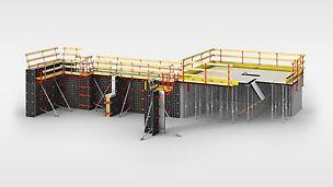 Multifunctioneel bekistingssysteem dat inzetbaar is bij verticale en horizontale toepassingen. De panelen zijn aanpasbaar aan elke gewenste afmeting door de paslatten.