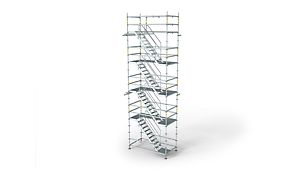 The lightweight stair tower for flexible access solutions PERI UP Flex Trapp75 Lett trappetår for fleksible adkomstløsninger PERI stillas reis dekke