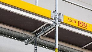 W celu poszerzenia pomostu rusztowania stosuje się wsporniki podstawowe Easy o szerokości 25 cm i 33 cm. Osadza się je szybko na ramie Easy za pomocą połączenia Gravity Lock.