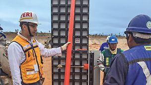 A equipe de construção trabalha de forma eficiente desde o início devido à introdução à montagem, limpeza e armazenamento realizada pelo supervisor PERI.