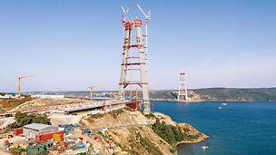 retí most cez Bospor - najvyššie betónové piliere mosta na svete