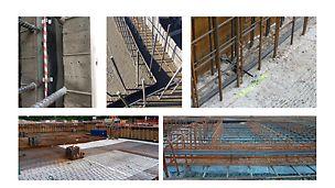 Vanntette konstruksjoner stillas reis dekke forskaling domino Trio Quatro søyle panel dekke vegg OSB finer plater forbruk