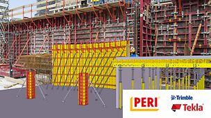 Durch die neuen Bauteilbibliotheken wird die seit 2016 bestehende Kooperation zwischen der Trimble Software Tekla und der PERI GmbH deutlich erweitert. Ganz im Sinne der bestmöglichen Lösung für die Kunden können die Tekla Anwender in ihrer gewohnten Software auch PERI Systeme in die Lösung integrieren.