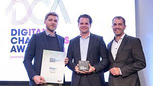 From left to right: Julian Schmalstieg (PERI Digital Transformation Office), Dr. Fabian Kracht (Managing Director PERI GmbH), Markus Biczkowski (Deutsche Telekom). (Foto: Deutsche Telekom AG)