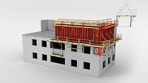 FB 180 Fasadbrygga System: Flexibla arbets- och skyddsställningen.