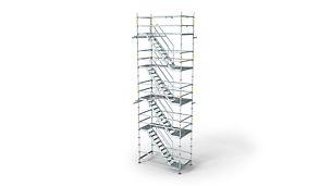 Κλιμακοστάσιο αλουμινίου PERI UP Rosett Stair Alu 64: Εύκολη, ασφαλής και γρήγορη συναρμολόγηση.