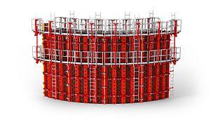 PERI RUNDFLEX Plus kružna oplata - zahvaljujući podesivim standardnim elementima nastaju savršene krivine, bez dodatnih mera.
