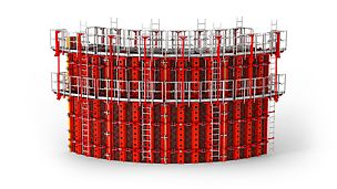 RUNDFLEX Plus Circular Formwork: With its adjustable standard panels, RUNDFLEX Plus avoids cost-intensive reassembly or special formwork modifications.