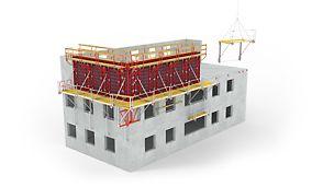 Die Faltbühne FB 180 von PERI wird komplett montiert auf die Baustelle geliefert.