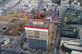 """מבנה משרדים בבני ברק הכולל 23 קומות בשטח של כ-50,000 מ""""ר ו-5 קומות חניון בשטח של כ-28,000 מ""""ר."""