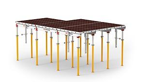 Lekkie i sprawdzone aluminiowe deskowanie stropowe do szybkiego montażu.