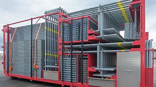 Systeem met geïntegreerde transportbeveiliging, te gebruiken zonder heftruck - producten altijd direct beschikbaar in de juiste componentgroep.