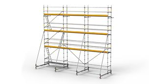 The PERI UP Rosett R scaffold system is a modular reinforcement scaffold for efficient work. PERI UP Flex stillassystem er en modulbasert arbeidsstillas for effektivt arbeid Armeringsstillas PERI stillas reis dekke