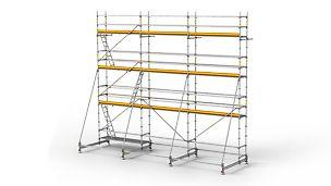 Lešenárska zostava PERI UP Rossett je modulový systém pre efektívnu prácu.