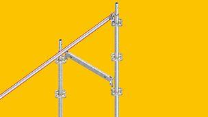 Dank der Integration der vorlaufenden Geländermontage wie hier mit dem Flex-Stiel ist ein Gerüstersteller mit dem PERI UP Systembaukasten für unterschiedliche Gebäudegeometrien gleich gut gerüstet.