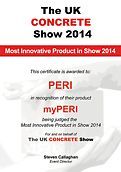 Certificate for the award as most innovative product in show