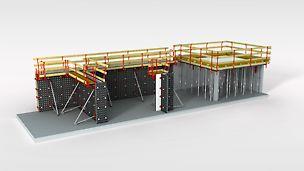 Universāla veidņu sistēma sienu, kolonnu un pārsegumu betonēšanai.
