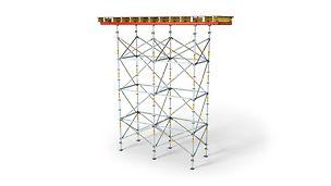 El andamio de carga para mesas, con adaptación en altura