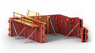 DOMINO es el encofrado modular ligero para muros en altura y cimentaciones y para cualquier planta.