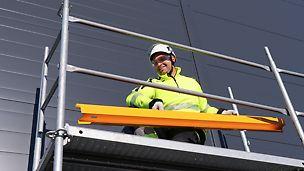Låg vikt - Komponenternas låga vikt resulterar i snabb montering och demontering av fasadställningen