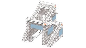 freistehende öffentliche Treppe beim Wolkenkratzerfestival in Frankfurt