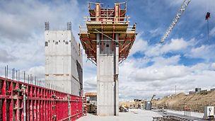 Durch die Kombination von CB Klettereinheiten mit der MAXIMO Rahmenschalung wurde die geforderte hohe Qualität der Betonoberflächen erreicht, gleichzeitig aber auch der enge Bauzeitenplan eingehalten.