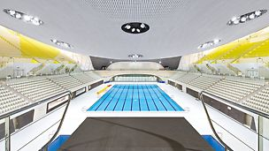 Aquatics Centre, Londýn: Po skončení Letních olympijských her 2012 bude kapacita hlediště plaveckého stadionu snížena ze 17 500 na 2 500 míst k sezení.