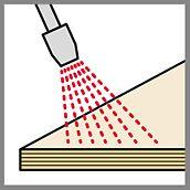 Illustration von einer Düse, die eine Flüssigkeit auf eine Schalungsplatte sprüht, um das Einölen von Betonschalungsplatten zu veranschaulichen.
