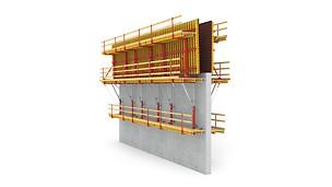 SCS爬架系统主要是为单面模板设计的爬架系统-即:不使用穿墙拉杆;混凝土侧压力通过支架系统传递给爬架的锚固组件,进一步传递给已完成的浇筑段。