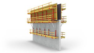 W przypadku PERI SCS obciążenia od parcia bocznego mieszanki betonowej przenoszone są bez użycia ściągów na konstrukcję poprzedniego etapu betonowania poprzez wspornik i kotwy wspinania.