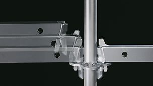 The gravity lock facilitates fas assembly of the modular scaffolding: by inserting the wedge head into the rosette, the wedge drops by force of gravity into the hole and then locks.