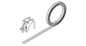 Zeichnung eines PERI Lochbandes und Lochbandspanners.