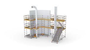 Bezpečná práca v každej výške vďaka vysokej flexibilite modulového lešenia.