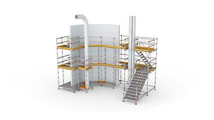 Échafaudage de travail particulièrement flexible, pour une large variété d'applications.