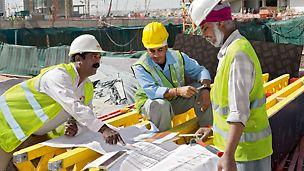 A travers des coffrages et des systèmes d'échafaudages sûrs et efficaces, la qualité et l'assistance sont garanties.